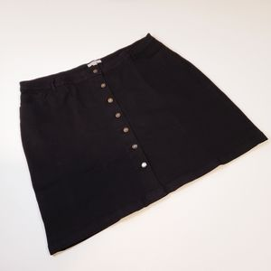 Plus size black denim skirt